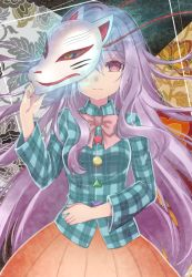 1girl asa_(coco) blank_stare covering_one_eye expressionless fox_mask hata_no_kokoro lavender_hair long_hair long_sleeves looking_at_viewer mask mask_over_one_eye noh_mask pink_eyes plaid plaid_shirt ribbon shirt skirt solo string touhou