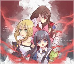3girls aya_drevis bangs black_hair blonde_hair blue_eyes blue_rose blunt_bangs blush bow braid brown_hair cat child collarbone copyright_name cravat crossover dress fangs flower green_eyes hair_bow hair_ornament happy holding ib ib_(ib) jewelry large_bow long_hair looking_at_viewer mad_father majo_no_ie multiple_girls open_mouth pink_bow red_eyes red_rose ribbon rose sidelocks twin_braids viola_(majo_no_ie) watermark web_address wintercookies