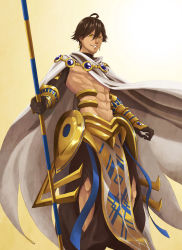 1boy ahoge armor brown_hair cape dark_skin dark_skinned_male earrings fate/prototype fate/prototype:_fragments_of_blue_and_silver fate_(series) jewelry rider_(fate/prototype_fragments) shirtless solo staff yellow_eyes yoi_(207342)