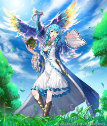 1girl bird book boots braid breasts churayuki cleavage company_name covered_navel feathered_wings flower full_body grass green_eyes gyakushuu_no_fantasica hair_ornament hairclip leaf long_hair official_art open_mouth sky solo teeth tree twin_braids wings