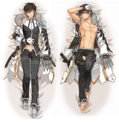 1boy black_hair elsword eyes_closed gloves highres jacket limble looking_at_viewer lying male open_clothes pixiv_manga_sample raven_(elsword) resized shoes sleeping underwear