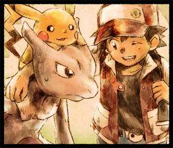 anniversary black_hair hat matsuri_(matsuike) mewtwo pikachu pokemon pokemon_(game) pokemon_rgby red_(pokemon) red_(pokemon)_(classic)