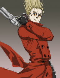 1boy blonde_hair blue_eyes coat gb_(doubleleaf) gloves gun handgun high_collar long_coat male_focus red_coat revolver short_hair simple_background smile solo spiked_hair sunglasses trigun vash_the_stampede weapon