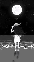 1girl beach black_hair female footprints hat kuroki_tomoko monochrome moon moonlight night one_piece_skirt sand sea shore skirt sky stars tagme watashi_ga_motenai_no_wa_dou_kangaetemo_omaera_ga_warui! water wind