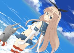 blonde_hair blue_eyes cloud cloudy_sky dutch_angle elbow_gloves from_behind gloves hairband highres kantai_collection lens_flare long_hair looking_back miniskirt ocean rensouhou-chan sailor_collar saru_to_yami shimakaze_(kantai_collection) skirt sky solo striped striped_legwear thighhighs very_long_hair