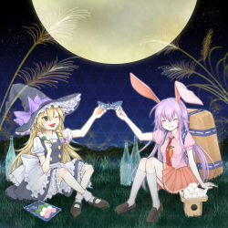 2girls animal_ears apron backpack bag black_hat black_skirt black_vest blonde_hair bloomers bottle bow bunny_ears carrot dango eyes_closed food frilled_skirt frills full_moon grass grin hair_between_eyes hat hat_bow highres kirisame_marisa lavender_hair loafers long_hair mary_janes mochi moon multiple_girls necktie open_mouth pin pink_shirt plate pleated_skirt puffy_short_sleeves puffy_sleeves red_necktie red_skirt reisen_udongein_inaba ribbon-trimmed_underwear ribbon_trim sakazuki shirt shoes short_sleeves sitting sitting_on_ground skirt smile toast_(gesture) touhou tsukimi_dango tsurime underwear wagashi waist_apron white_apron white_bow white_legwear white_shirt witch_hat yellow_eyes