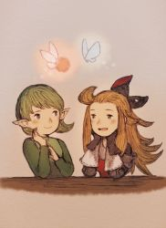 blonde_hair blue_eyes bravely_default:_flying_fairy crossover edea_lee fairy gloves green_hair long_hair maekakekamen ocarina_of_time pointy_ears saria short_hair smile the_legend_of_zelda