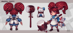 alternate_costume alternate_hairstyle animal_ears apron artist_name blush_stickers brown_eyes buckler buttons character_name concept_art denden_daiko dress fang highres kienan_lafferty league_of_legends pillow poppy rattle_drum red_hair shield striped striped_legwear twintails yarn