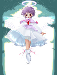 :d floating halo kitsupon open_mouth original purple_hair red_eyes short_hair smile transparent_wings tree