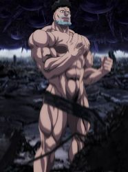 1boy abs black_hair highres muscle nude one-punch_man puri_puri_prisoner smile solo standing stitched