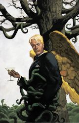 1boy angel_wings bare_tree black_jacket blonde_hair christopher_moeller cobra cocktail_glass cup cupping_glass dc_comics drinking_glass feathered_wings formal from_side hand_in_pocket handkerchief highres holding_drinking_glass jacket light_smile lips long_sleeves looking_at_viewer lucifer_(series) lucifer_morningstar official_art signature smile snake solo suit tan too_many tree tuxedo wine_glass wings yellow_wings