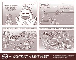 4koma admiral_(kantai_collection) ahoge ancient_destroyer_oni chi-class_torpedo_cruiser chikuma_(kantai_collection) comic damaged drum_(container) edwin_(cyberdark_impacts) english eyes_closed glasses hairband hat he-class_light_cruiser highres kantai_collection long_hair monochrome necktie ocean ooyodo_(kantai_collection) remodel_(kantai_collection) shigure_(kantai_collection) sunglasses tidehunter torn_clothes