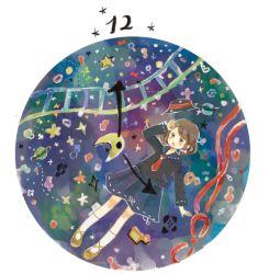 1girl bow brown_hair clock crescent hair_bow hat onigiri_(ginseitou) planet ribbon short_hair skirt solo star touhou usami_renko