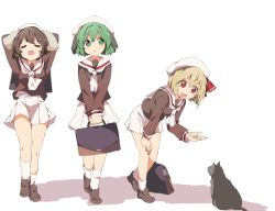 3girls alternate_costume animal animal_ears bent_over blonde_hair brown_hair bunny_ears cat eyes_closed full_body green_eyes green_hair hair_ornament hair_ribbon hasebe_yuusaku hat inaba_tewi kasodani_kyouko long_sleeves looking_at_another miniskirt multiple_girls open_mouth red_eyes ribbon rumia sailor_collar school_uniform serafuku shirt shoes short_hair simple_background skirt smile socks touhou white_background white_legwear