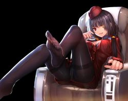1girl airplane_interior black_background black_bra black_hair black_legwear bra breasts couch date_a_live feet hat heterochromia indoors leg_lift long_hair looking_at_viewer medium_breasts miniskirt no_shoes open_clothes open_mouth open_shirt panties panties_under_pantyhose pantyhose pantyshot pov_feet red_eyes simple_background sitting skirt smile solo stewardess thighband_pantyhose toes tokisaki_kurumi twintails underwear upskirt weiyinji_xsk yellow_eyes