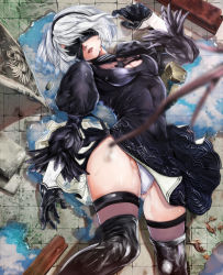 black_dress black_gloves black_legwear blindfold bokkusu boots dress feather-trimmed_sleeves gloves hairband highres leotard_under_clothes lying mole mole_under_mouth nier_(series) nier_automata on_back parted_lips planted_sword planted_weapon puddle puffy_sleeves rock short_hair silver_hair sword thigh_boots thighhighs water weapon yorha_no._2_type_b