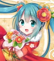 1girl 2015 alternate_costume aqua_hair blue_eyes blush flower hair_flower hair_ornament happy_new_year hatsune_miku japanese_clothes kimono long_hair new_year smiley_face snowmi solo twintails vocaloid