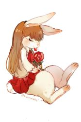 animal_ears animalization brown_hair bunny bunny_ears flower ib ib_(ib) long_hair red_rose rose skirt solo souno_kazuki