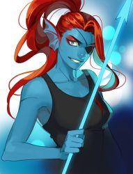 1girl blue_skin energy_spear eyepatch head_fins lictter monster_girl polearm ponytail red_hair smile solo spear tank_top teeth undertale undyne weapon