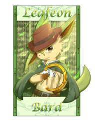 character_name clothed_pokemon hat instrument ivan_(ffxazq) leaf leafeon no_humans pokemon solo