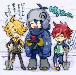 3boys ^_^ aizen_kunitoshi bandaid bandaid_on_nose blonde_hair blue_eyes blue_hair bowl eyes_closed fang hair_over_one_eye hat hood hoodie jacket japanese_clothes kantarou_(8kan) male_focus mikazuki_munechika mittens multiple_boys open_mouth red_eyes red_hair sandals scarf shishiou shovel smile touken_ranbu track_jacket translation_request tray worktool