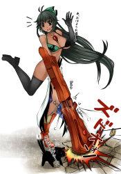 2girls adapted_object alternate_skin_color aoshima arm_cannon bikini black_eyes black_hair black_legwear commentary_request crushing elbow_gloves gloves highres kaenbyou_rin kaenbyou_rin_(cat) long_hair multiple_girls ponytail reiuji_utsuho swimsuit thigh_gap thighhighs third_eye touhou very_long_hair weapon