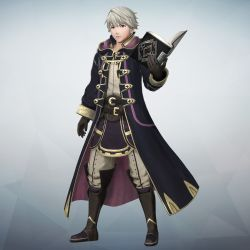 1boy bangs book boots brown_eyes cloak detached_sleeves fire_emblem fire_emblem:_kakusei fire_emblem_musou full_body gloves gradient gradient_background highres holding holding_book knee_boots long_coat looking_at_viewer male_focus male_my_unit_(fire_emblem:_kakusei) my_unit_(fire_emblem:_kakusei) official_art pants short_hair simple_background solo standing white_hair