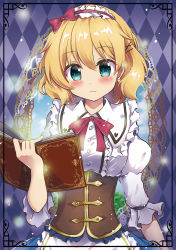 1girl alice_margatroid beni_kurage blonde_hair blue_eyes blush book bow breasts closed_mouth eyebrows_visible_through_hair hairband highres holding holding_book looking_at_viewer medium_breasts open_book puffy_short_sleeves puffy_sleeves red_bow short_hair short_sleeves smile solo touhou