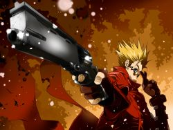 1boy blonde_hair blue_eyes coat crossed_fingers fingerless_gloves gloves gun handgun high_collar long_coat male red_coat revolver sakichi6891 short_hair smile solo spiked_hair sunglasses trigun vash_the_stampede weapon