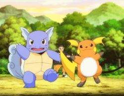 1boy animated animated_gif dancing pokemon pokemon_(anime) raichu spinning wartortle