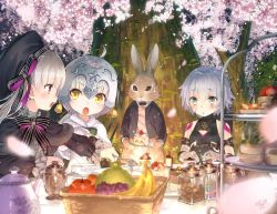 3girls assassin_of_black bare_shoulders blonde_hair blue_eyes blush braid bunny dress fate/apocrypha fate/extra fate/extra_ccc fate/grand_order fate_(series) food green_eyes hat headpiece jeanne_alter jeanne_alter_(santa_lily)_(fate) long_hair multiple_girls nursery_rhyme_(fate/extra) open_mouth purple_eyes ribbon ruler_(fate/apocrypha) scar short_hair silver_hair striped striped_ribbon tears twin_braids white_hair yasuyuki yellow_eyes