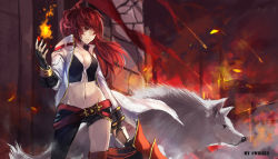 1girl animal_ears asymmetrical_legwear breasts cleavage elesis elsword fingerless_gloves fire gloves highres jacket long_hair midriff mound_of_venus navel red_hair solo swd3e2 wolf_ears