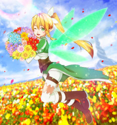 1girl 2mota blonde_hair boots bouquet flower green_eyes hair_ribbon highres holding leafa long_hair looking_at_viewer one_eye_closed open_mouth outdoors pointy_ears ponytail ribbon see-through shorts solo sword_art_online thighhighs white_legwear white_ribbon white_shorts wings