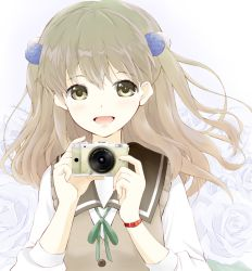 1girl :d blush buttons camera collar eyebrows_visible_through_hair eyelashes fingernails floating_hair flower green_ribbon hair_bobbles hair_ornament holding holding_camera lavender_background light_brown_eyes light_brown_hair lips long_hair long_sleeves looking_at_viewer mitani_kanae multicolored multicolored_background neck_ribbon open_mouth pentax ribbon rose ryou.r sailor_collar school_uniform shiny shiny_skin shirt sleeveless smile solo sweater_vest tamayura tareme two_side_up upper_body white_background white_shirt wind wristband