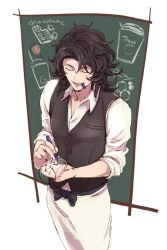 1boy apron black_hair blue_eyes bow chalkboard eyes_closed from_above granblue_fantasy lancelot_(granblue_fantasy) male_focus marker mouth_hold siwomi sleeves_pushed_up smile solo waist_apron waistcoat waiter writing