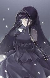 1girl black_dress dress flower hal_(sakurajam) hood hyuuga_hinata lavender_eyes long_hair naruto naruto:_the_last petals purple_hair tears