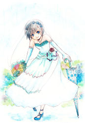 1girl black_hair blue_eyes bouquet bridal_veil dress flower gloves highres jewelry kingdom_hearts kingdom_hearts_358/2_days necklace short_hair solo umbrella veil wedding_dress xion81314 xion_(kingdom_hearts)