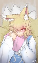 1girl animal_ears artist_name blonde_hair blush commentary_request cube85 eyebrows eyebrows_visible_through_hair eyes_visible_through_hair fang_out female_pov fox_ears fox_tail hair_over_one_eye hand_holding highres lips looking_at_viewer multiple_tails pov short_hair signature slit_pupils tabard tail touhou upper_body wide_sleeves yakumo_ran yakumo_yukari yellow_eyes