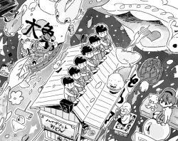 1girl 6+boys boat brothers chibita dayoon dekapan fish food_stand formal greyscale hanamaru_pippi_wa_yoi_ko_dake iyami leg_hug legs_crossed matsuno_choromatsu matsuno_ichimatsu matsuno_juushimatsu matsuno_karamatsu matsuno_osomatsu matsuno_todomatsu monochrome multiple_boys oden osomatsu-kun osomatsu-san sextuplets siblings sidesaddle sitting suit turtle yatai yowai_totoko