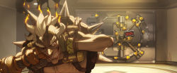 1boy absurdres arnold_tsang covering_ears eyebrows fingerless_gloves gloves grin highres indoors junkrat_(overwatch) male_focus mechanical_arm mechanical_arms official_art one_eye_closed overwatch safe shirtless smile smoke solo spikes thick_eyebrows tire upper_body