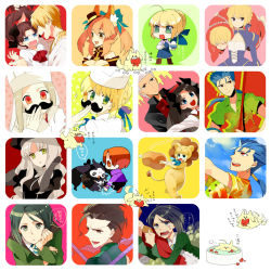 5girls 6+boys archer caren_hortensia caster_(fate/zero) chibi facial_hair fate/hollow_ataraxia fate/tiger_colosseum fate/zero fate_(series) gilgamesh gum_(gmng) gumidemo_kandero illyasviel_von_einzbern irisviel_von_einzbern lancer lancer_(fate/zero) matou_sakura multiple_boys multiple_girls multiple_persona mustache pokemon saber saber_lion starly tohsaka_rin toosaka_rin uryuu_ryuunosuke waver_velvet