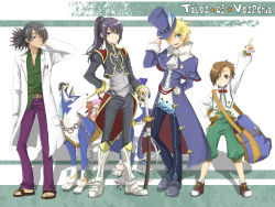 4boys alternate_costume bangs black_hair blonde_hair blue_eyes boots brown_hair character_doll character_request company_connection copyright_name cosplay dog estellise_sidos_heurassein flynn_scifo frederic_chopin frederic_chopin_(cosplay) full_body hat high_ponytail judith karol_capel kawamura_raichi knee_boots male_focus multiple_boys namco one_eye_closed patty_fleur ponytail raven_(tov) repede rita_mordio sword tales_of_(series) tales_of_vesperia top_hat trusty_bell weapon white_background wink yuri_lowell