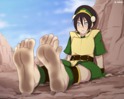 1girl :/ ankle_cuffs anklet avatar:_the_last_airbender barefoot black_hair blind blush bracer capri_pants chinese_clothes desert dirty_feet feet jewelry pants pov_feet rock sbel02 sitting soles tied_hair toes toph_bei_fong