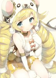 1girl :3 animal_hat arm_warmers bear_hat belt between_legs blonde_hair blue_eyes bow breasts collar collarbone drill_hair eyebrows eyebrows_visible_through_hair gloves hand_on_own_chest hat heart highres last_period long_hair looking_at_viewer niito paw_gloves red_bow shirokuma_(last_period) shorts side_cutout sitting sleeveless smile solo striped_shorts tareme twin_drills twintails white_background