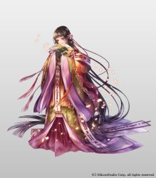 1girl absurdly_long_hair akkrs brown_hair company_name fan flower full_body grey_background gyakushuu_no_fantasica hair_flower hair_ornament japanese_clothes kimono long_hair official_art petals red_eyes simple_background solo very_long_hair