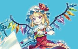 1girl ascot bangs blonde_hair blue_background blunt_bangs buttons dress_shirt eyebrows eyebrows_visible_through_hair fangs fingernails flandre_scarlet frilled_shirt_collar frilled_skirt frilled_sleeves frills hat hat_ribbon looking_at_viewer nail_polish puffy_short_sleeves puffy_sleeves red_eyes red_nails red_vest ribbon sharp_fingernails shirt short_hair short_sleeves side_ponytail simple_background skirt skirt_set slit_pupils smile solo touhou vest white_shirt wings wrist_cuffs zounose