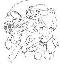 3girls arm_cannon blues_(rockman) breasts capcom genderswap hair_ribbon helmet high_heels large_breasts lineart linno monochrome multiple_girls open_mouth parted_lips ponytail ribbon rockman rockman_(character) rockman_(classic) roll scarf weapon