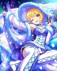 1girl asymmetrical_hair blonde_hair bracelet breasts cleavage coat corset earrings green_eyes idolmaster idolmaster_cinderella_girls jewelry large_hat microphone miyamoto_frederica night night_sky official_art one_eye_closed ribbon skirt sky snow thighhighs winter_clothes winter_coat zettai_ryouiki