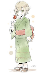 1boy candy_apple geta green_eyes hair_flaps hotarumaru japanese_clothes kimono licking_lips male_focus mizuhara_aki no_socks short_hair solo standing touken_ranbu white_background yukata
