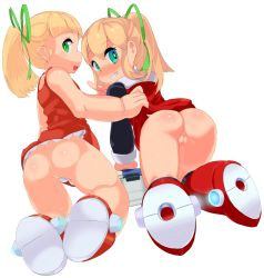 2girls ass blonde_hair blush capcom censored loli looking_at_viewer looking_back man0. mosaic_censoring multiple_girls no_panties open_mouth pointless_censoring pussy rockman rockman_(classic) roll shiny_hair shiny_skin white_background